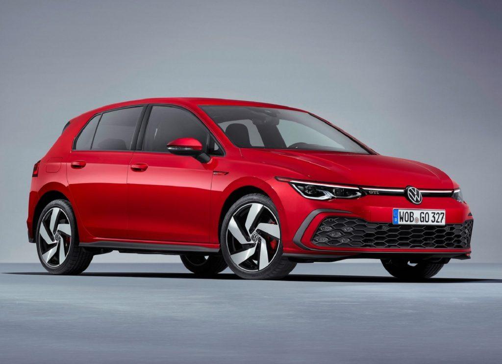A red 2021 Euro-spec Volkswagen Golf GTI