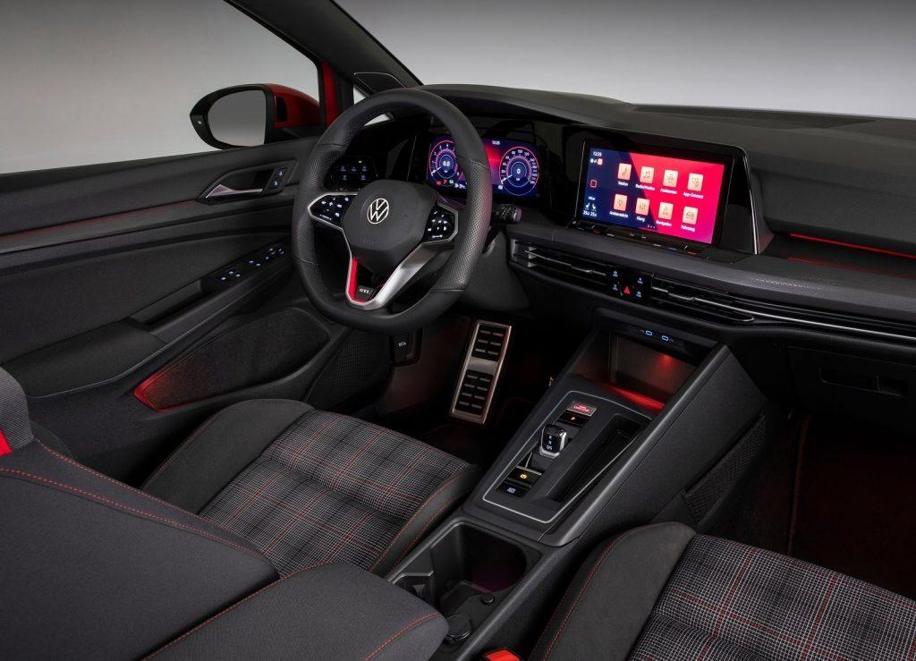 The plaid-cloth version of the 2021 Euro-spec Volkswagen Golf GTI's interior