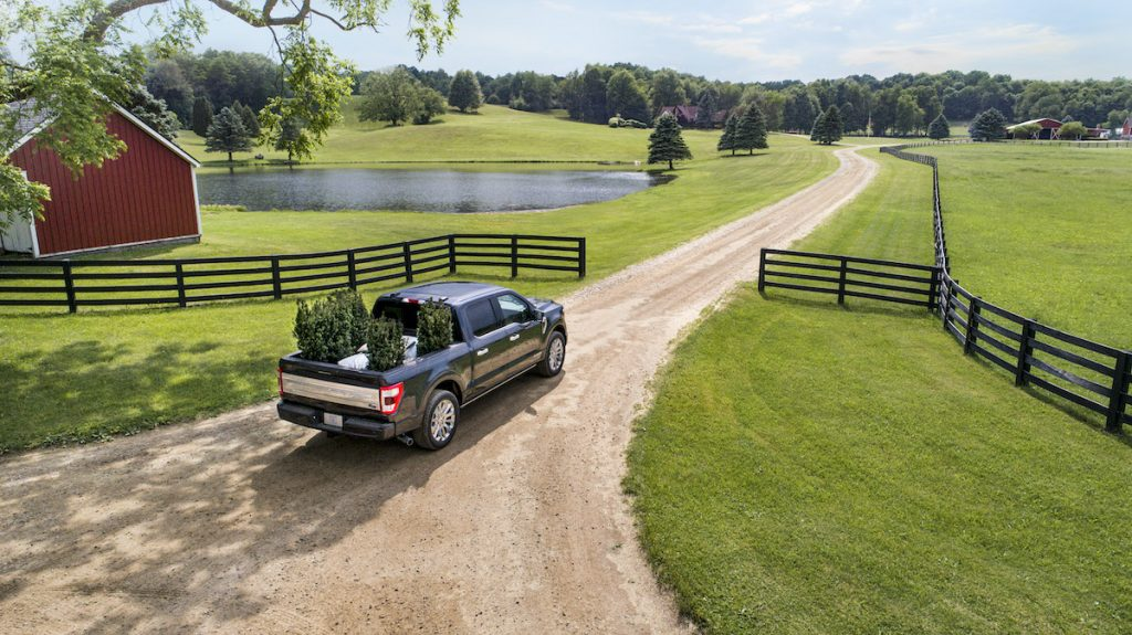 2021 Ford F-150 on a farm with plants loaded in the truck bed