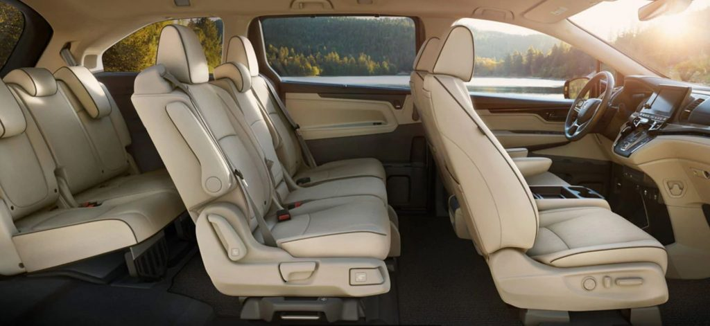This is a view of the three row cabin of the 2021 Honda Odyssey.
