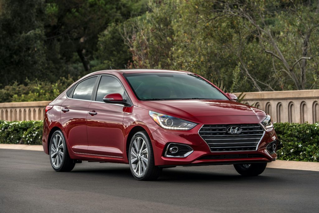 2021 Hyundai Accent parked with plants in the background