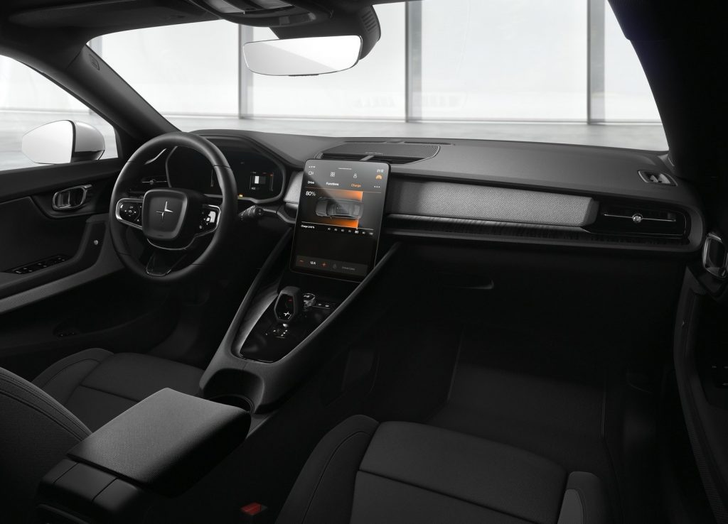 The 2021 Polestar 2's interior, showin in black