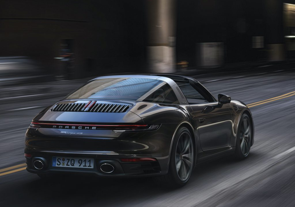 rear 3/4 view of black 2021 Porsche 911 Targa