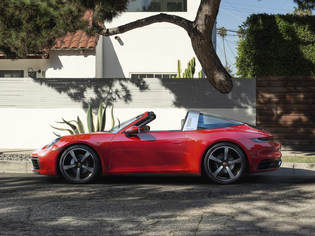 side view of red 2021 Porsche 911 Targa