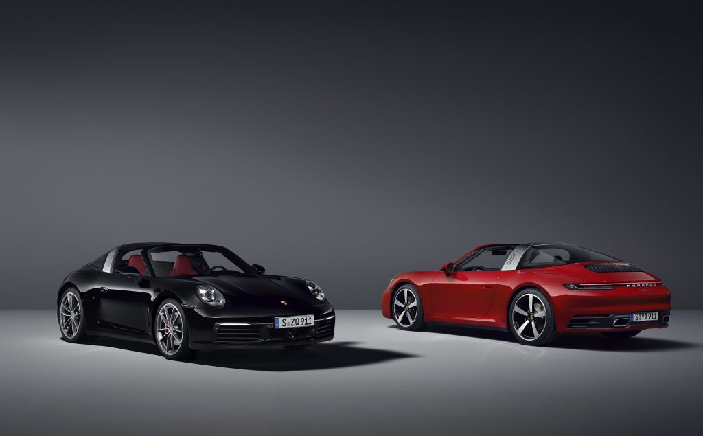 ft 3/4 and rear 3/4 views of 2021 Porsche 911 Targa coupes