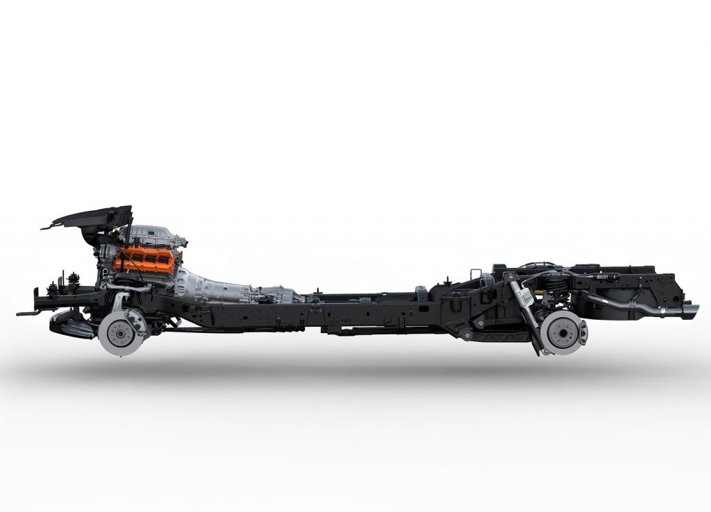 The 2021 Ram 1500 TRX's bare chassis, displaying its Bilstein dampers and Hellcat V8
