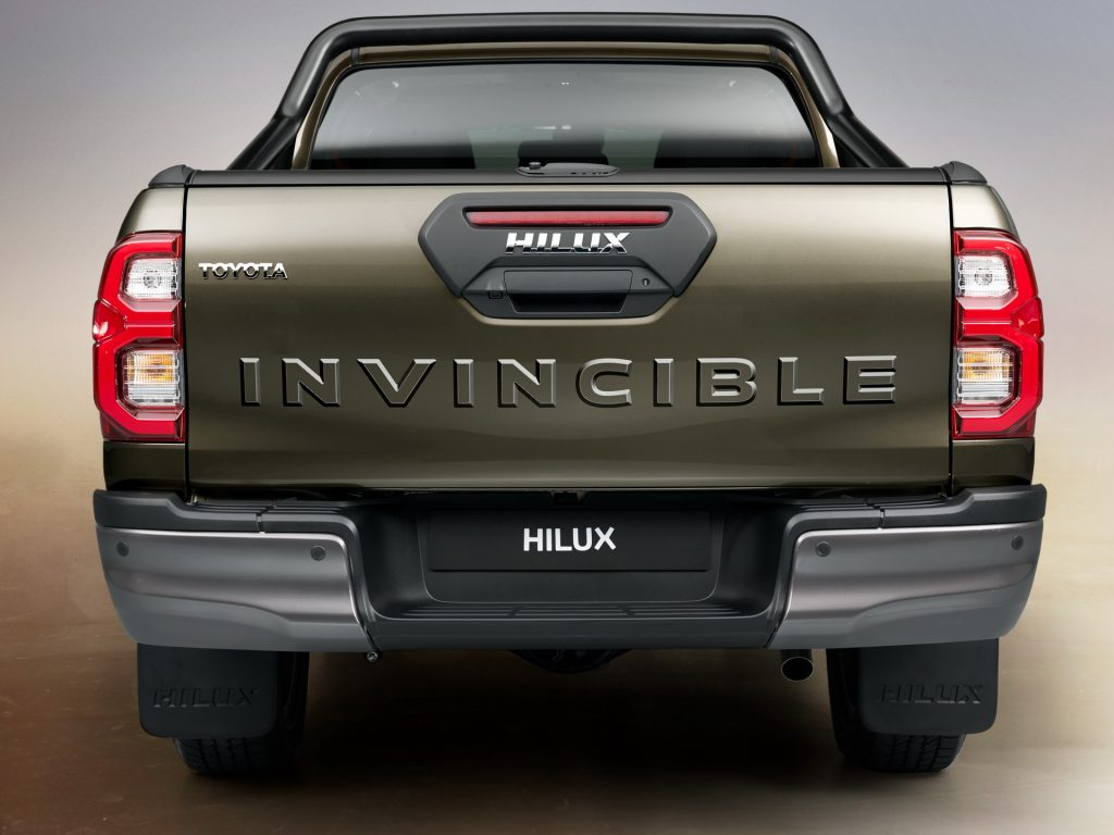 the rear tailgate of the invincible hilux, not sold on U.S. soil