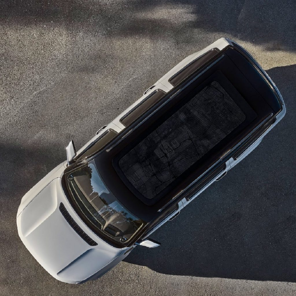An overhead view of the 2022 Jeep Grand Wagoneer's tinted glass roof
