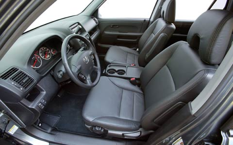 interior of the front seats of a 2005 Honda CR-V used SUV
