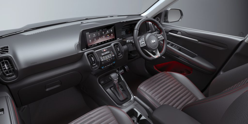 The black interior of an Indian right-hand-drive Kia Sonet