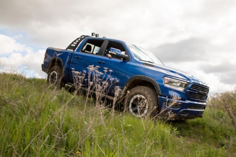 a blue Mopar custom build of an off-road ram