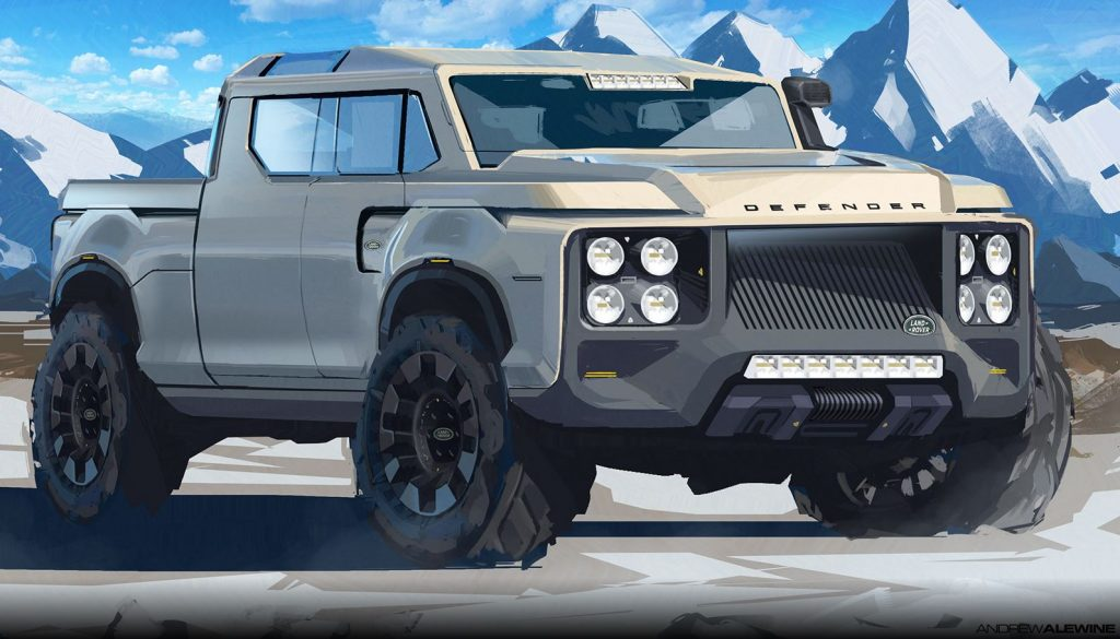 A large, blocky, full-size pickup truck rendering for a Land Rover.