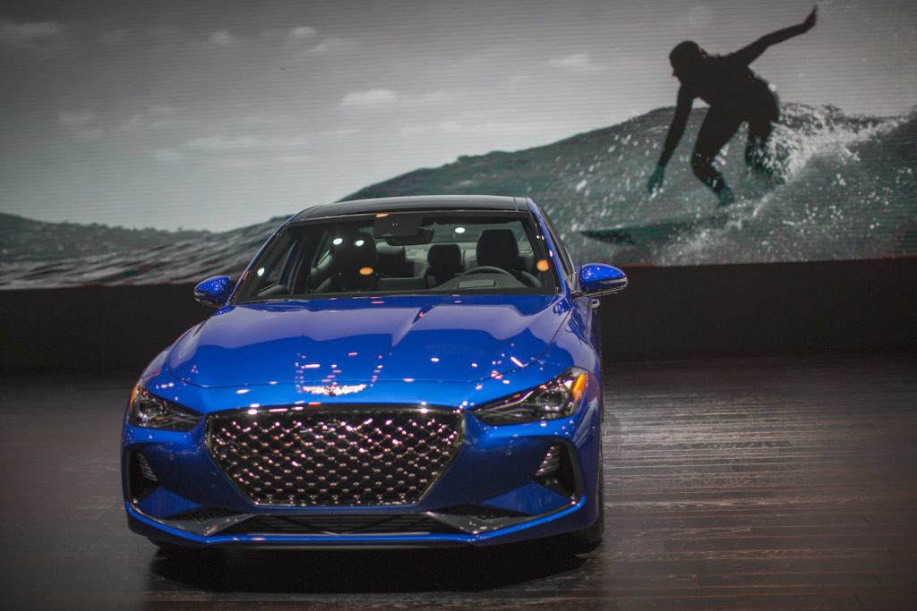 The Genesis G70, named Motor Trend Car of the Year, is shown at the auto trade show, AutoMobility LA