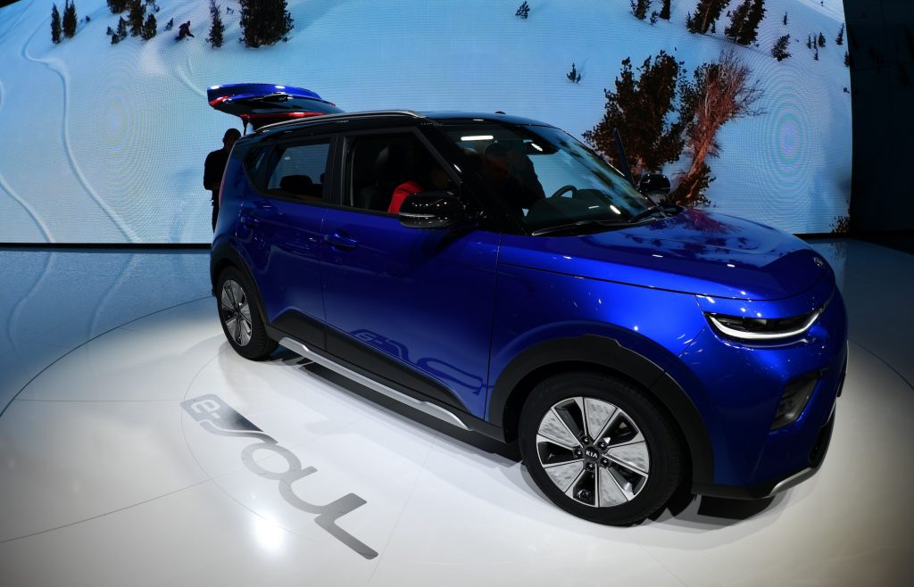 The Korean automaker Kia is displayed Soul electric car during the second press day of the 89th Geneva International Motor Show. The Kia Soul is a competitor of the Honda HR-V