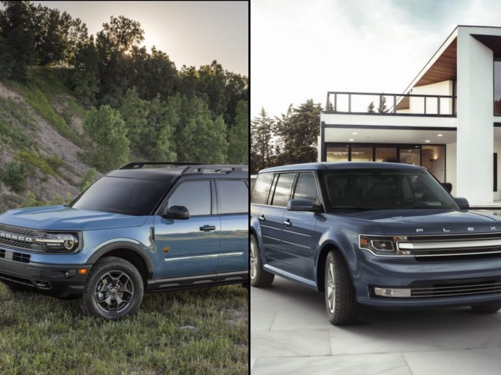 The Ford Bronco Sport and the Ford Flex have the same, boxy, square style