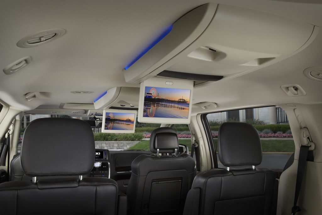 interior entertainment setup in a 2015 Chrysler Town and Country minivan