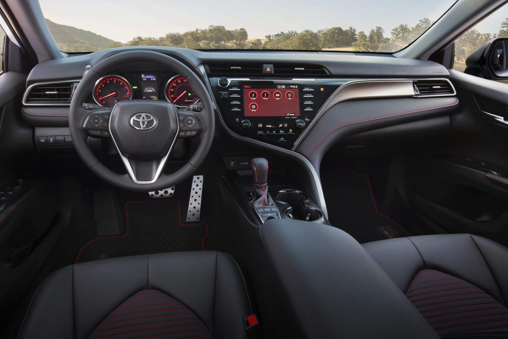 red accented Toyota Camry TRD interior