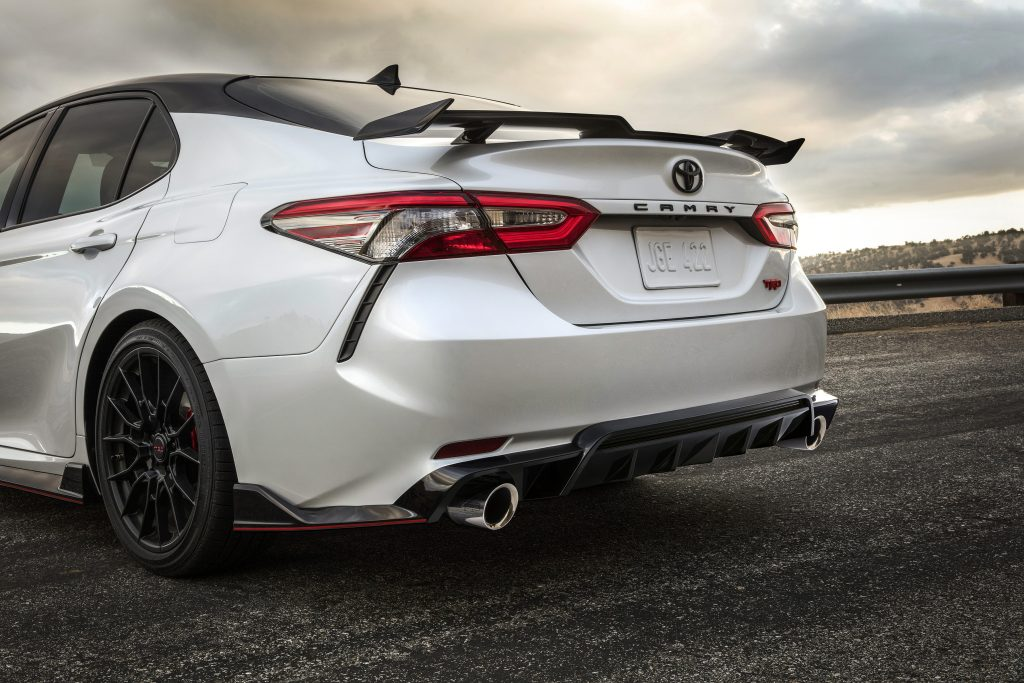 the exhaust and spoiler on the Camry TRD