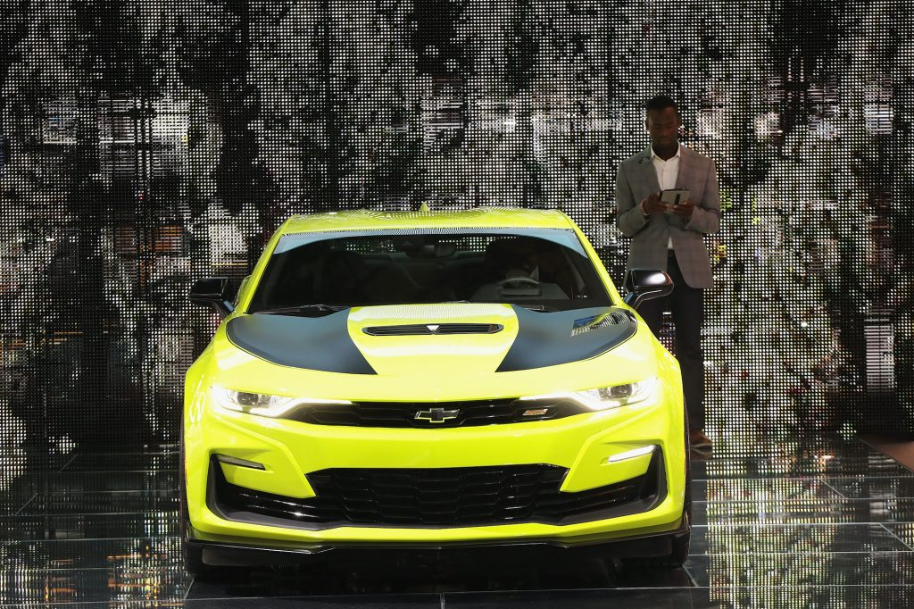 Chevy shows off its Chevrolet Camaro, rival to the Ford Mustang, at the North American International Auto Show