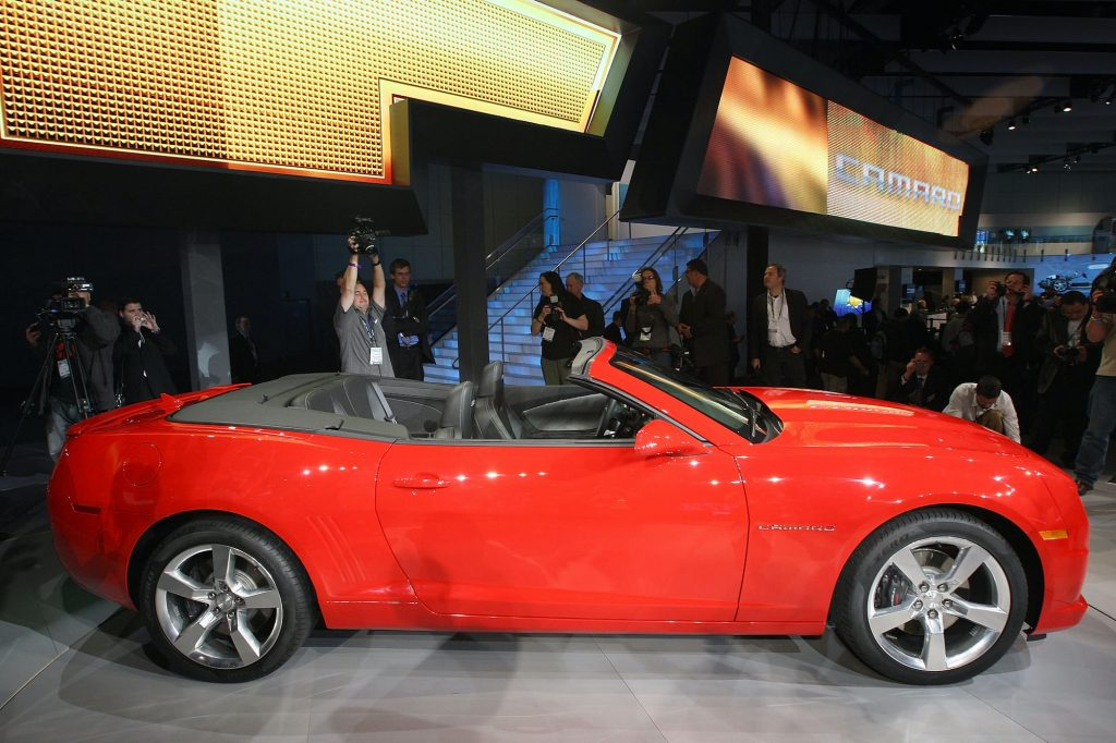 The new 2011 Chevrolet Camaro convertible is revealed at the two-day media preview event for the 2010 Los Angeles Auto Show