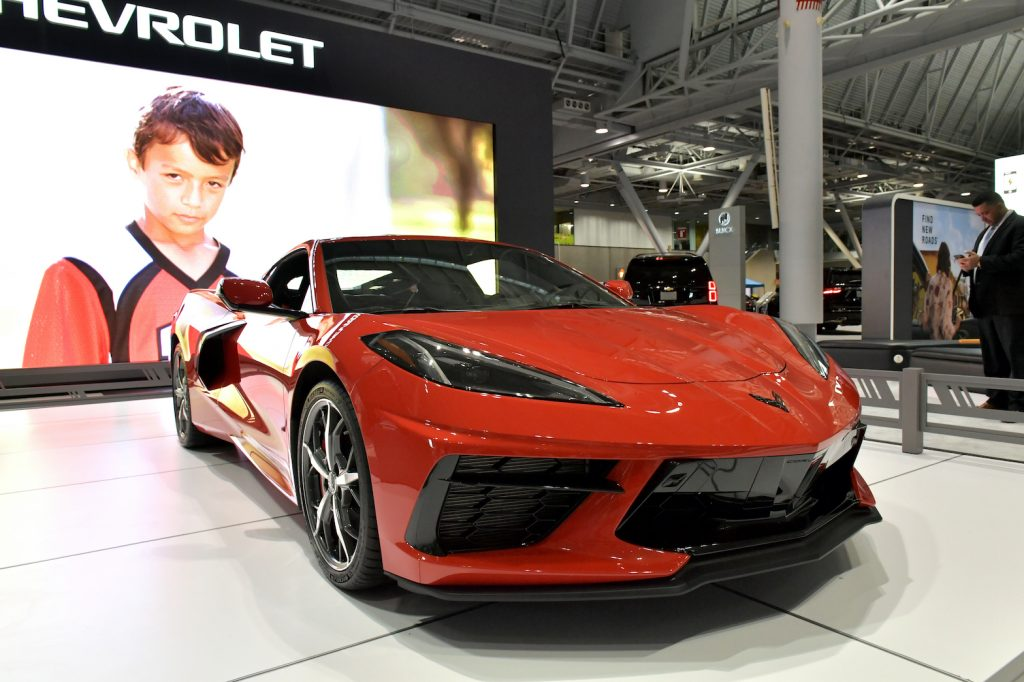 A Chevrolet Corvette Stingray is seen at the 2020 New England Auto Show Press Preview