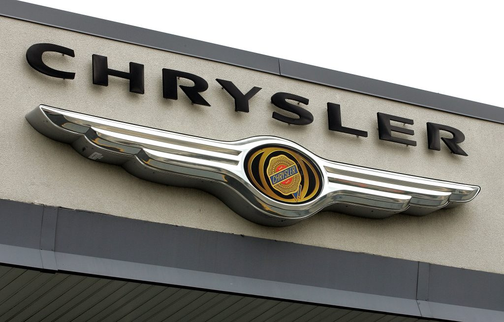 The Chrysler logo seen on the front of a building