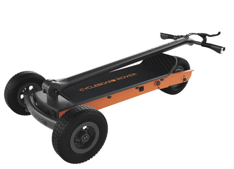 The Cycleboard Rover G2 has its handle folded down to show the units compactness.