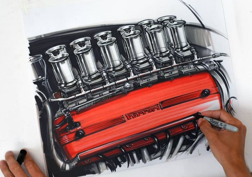 A drawing of a Ferrari engine with 12 velocity stacks sitting above a red valve cover.
