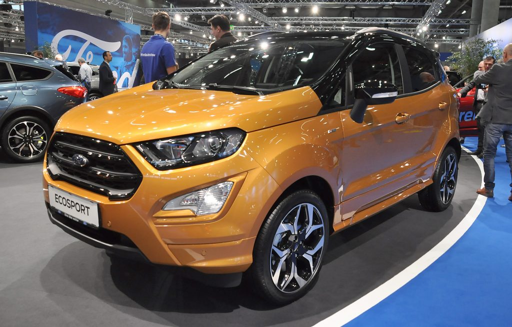 An orange Ford EcoSport on display