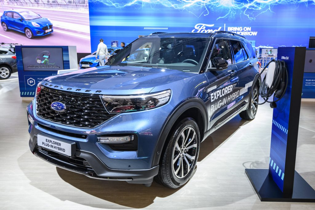Ford Explorer Hybrid SUV on display at Brussels Expo