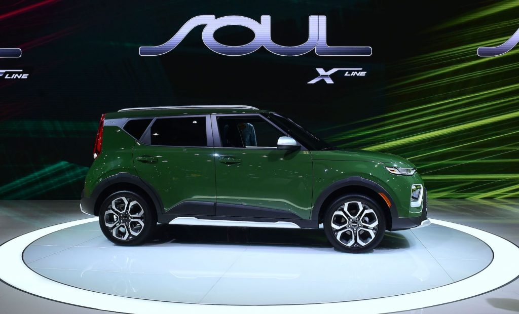 The Kia Soul X-Line on display in Los Angeles, California. The Soul is part of a Kia lineup that includes other popular models like the Telluride and K5