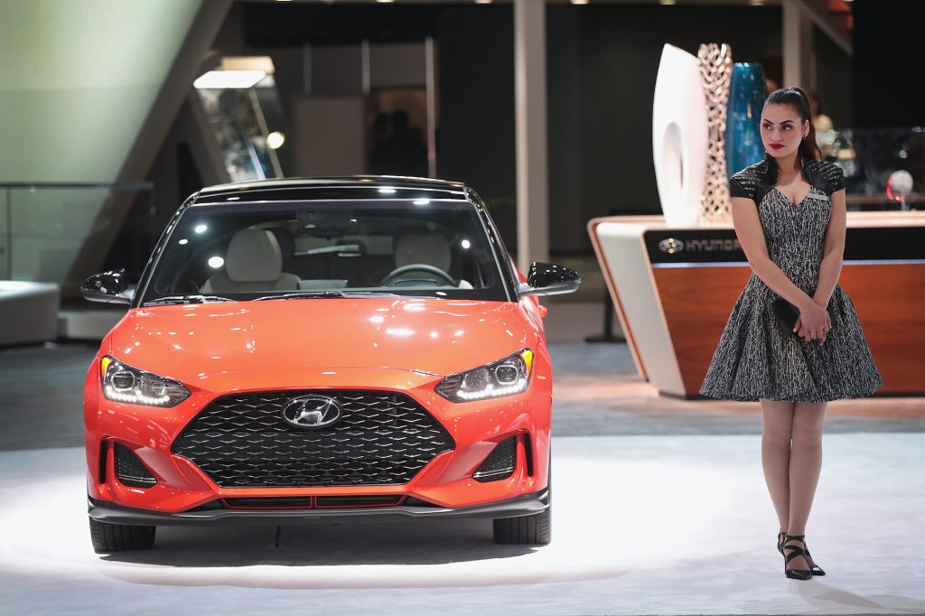A Hyundai Veloster is displayed at the North American International Auto Show