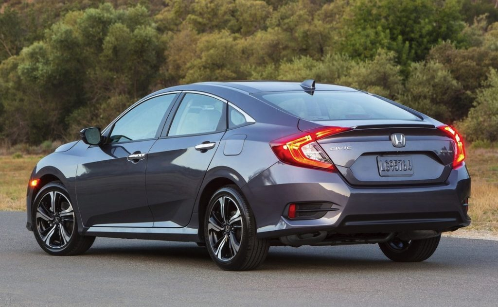 a gray 2016 Honda Civic three-quarter view from the rear
