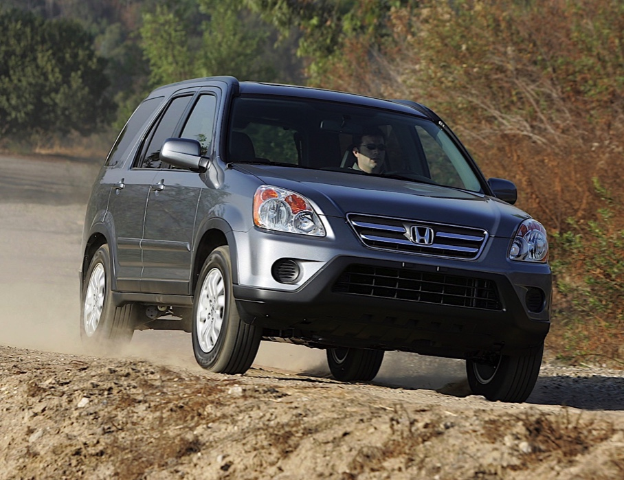 Honda CR-V used crossover SUV from 2005 driving in the mountains