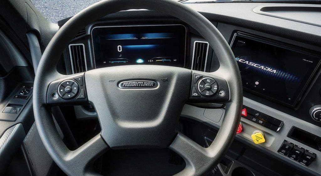 cockpit of the Freightliner eM2 by Daimler