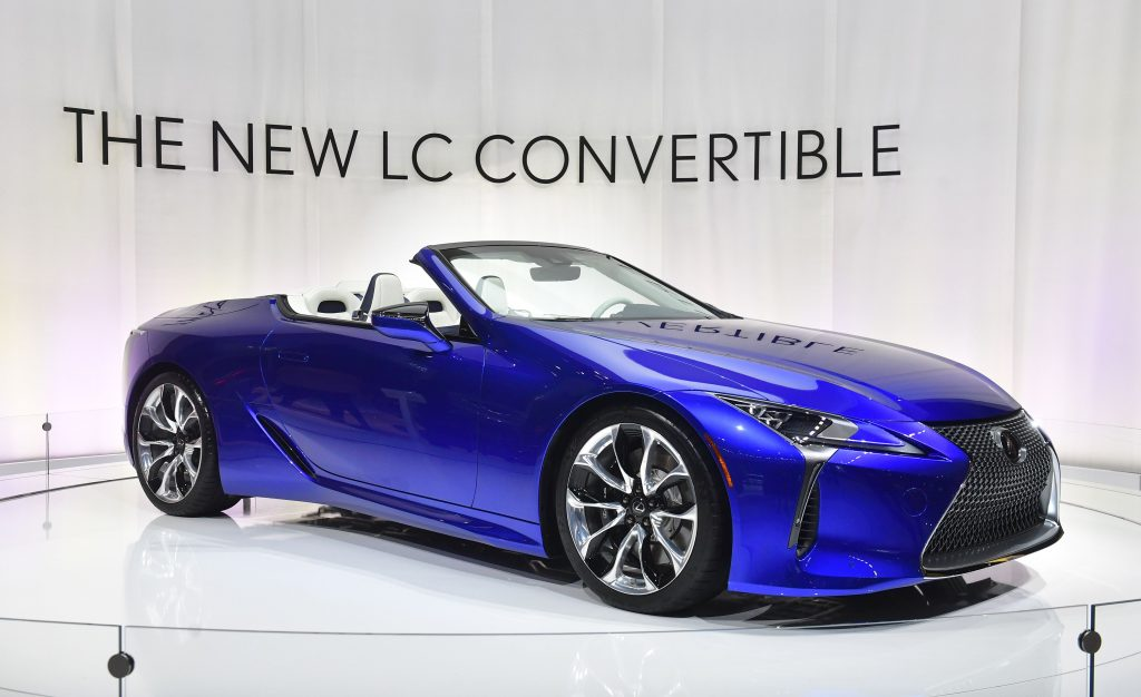 A new Lexus LC 500 convertible on display