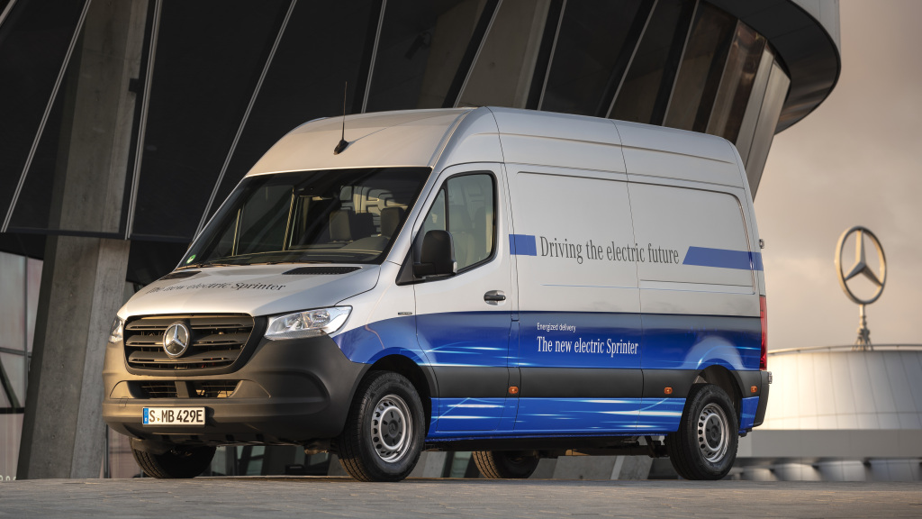 A white-and-blue Mercedes eSprinter cargo van