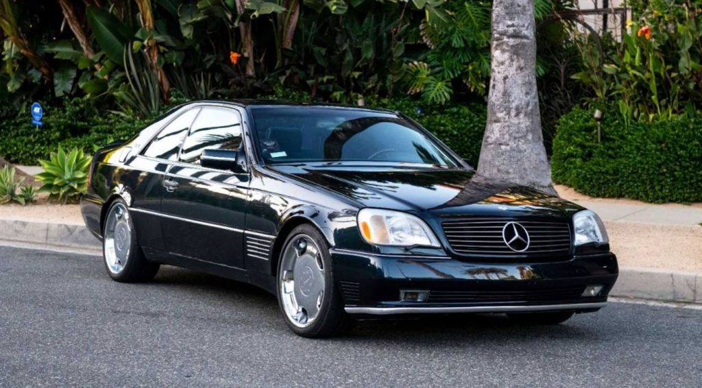 A front quarter view of the passenger side of Michael Jordan's 1996 Mercedes S600 Lorinser coupe