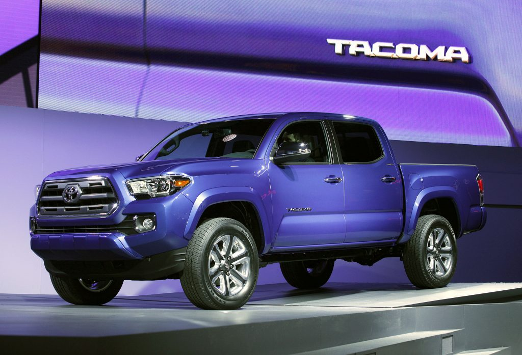 A Toyota Tacoma on display at an auto show