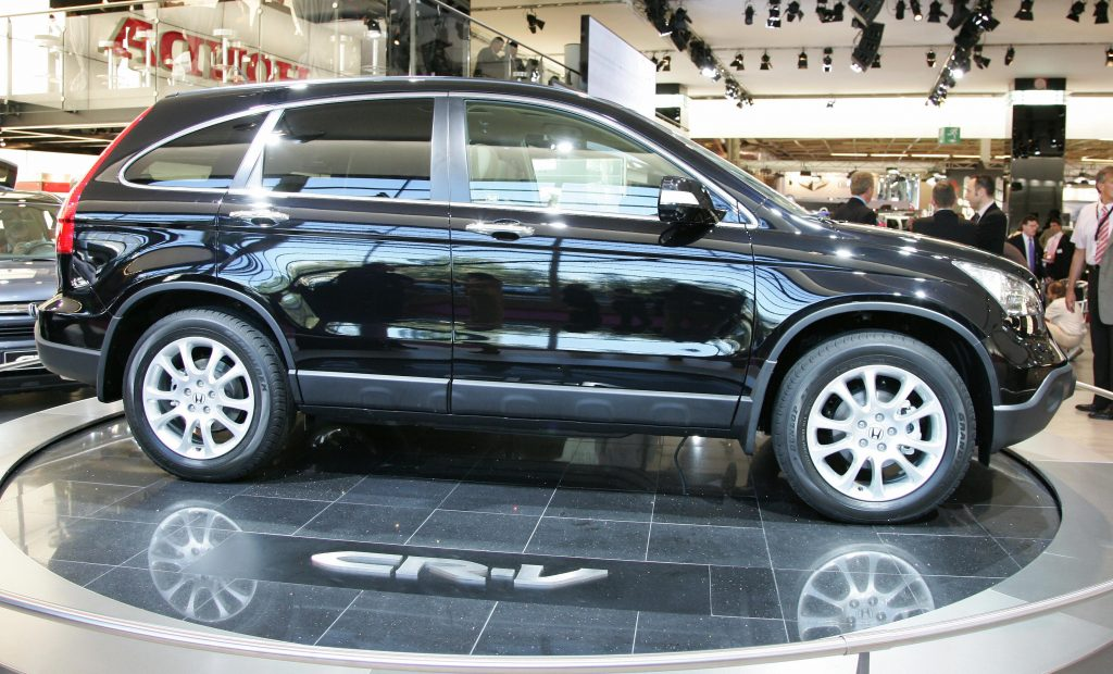 A Honda CR-V on display at an auto show