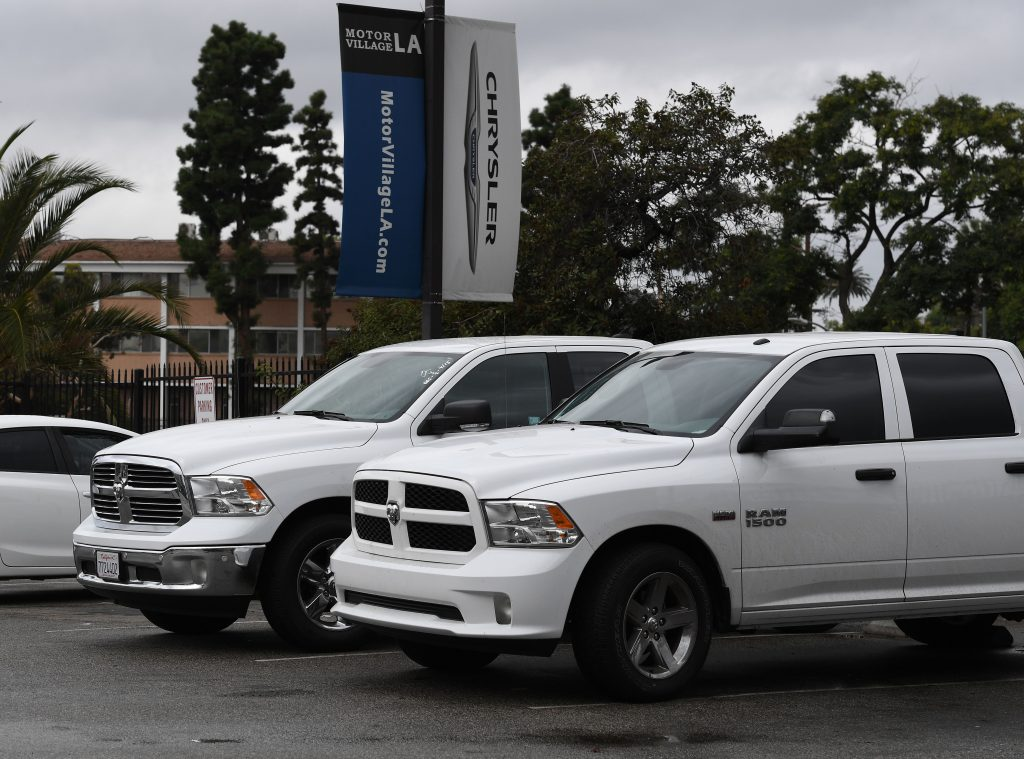 Ram pickup trucks for sale at a dealership
