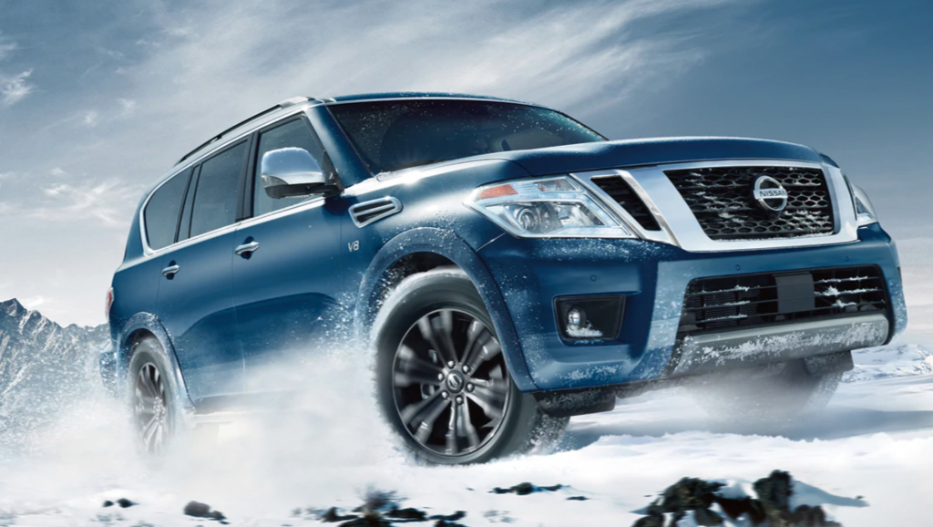 2020 Nissan Armada driving in snow