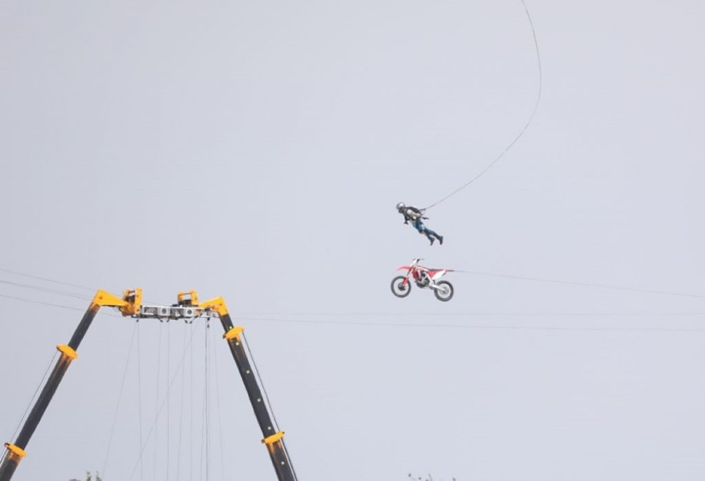 A stuntperson is separated from a motorcycle during shooting of Mission Impossible 7