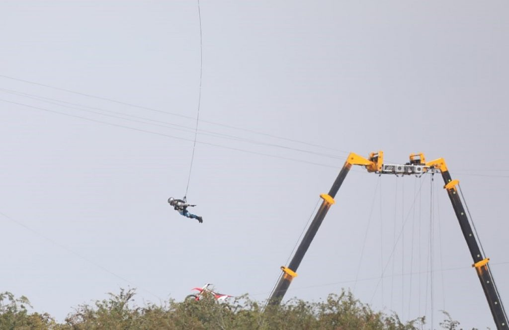 A stuntperson in freefall during shooting of Mission Impossible 7