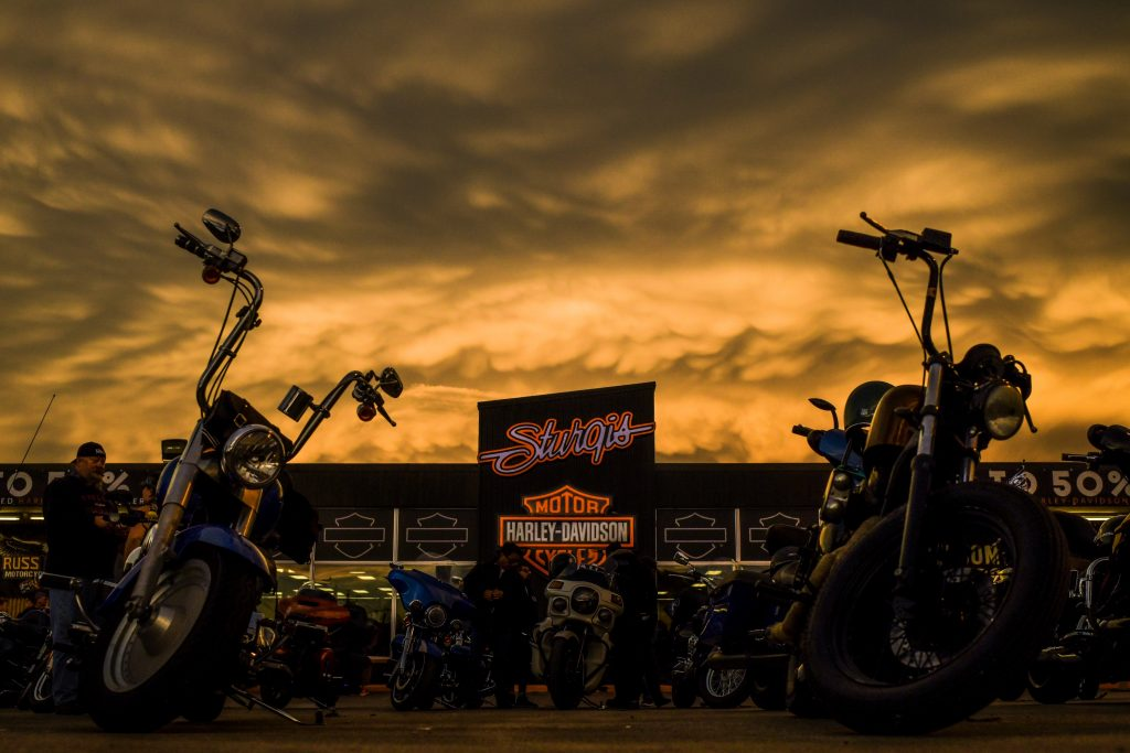 Sunset at the Sturgis Harley Davidson dealership during the 80th Annual Sturgis Motorcycle Rally