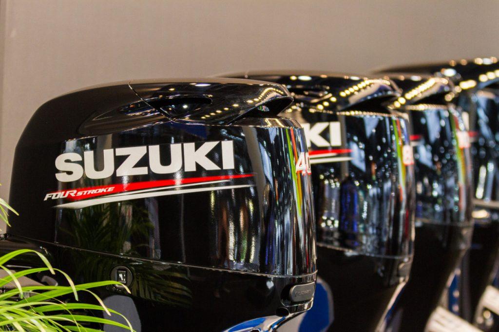 Suzuki outboard motors on display