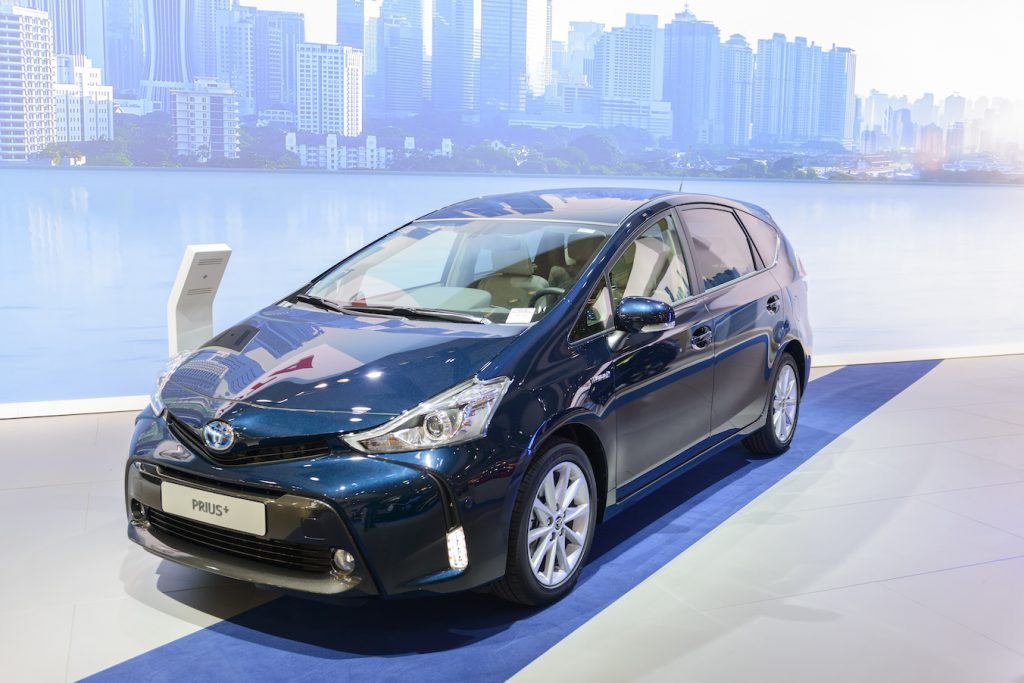Toyota Prius + mpv stationwagon on display at Brussels Expo