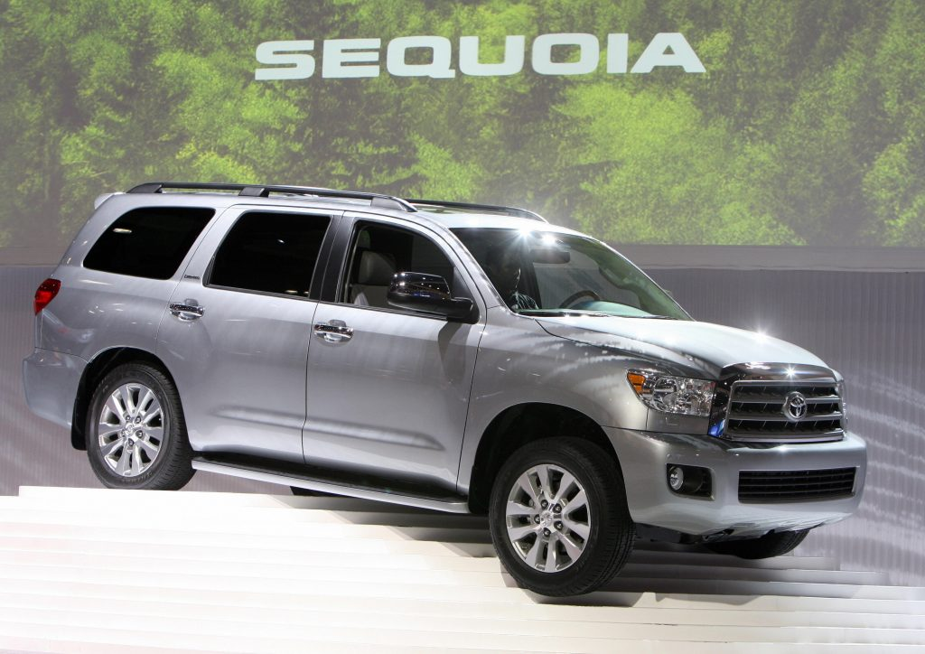A Toyota Sequoia on display at an auto show