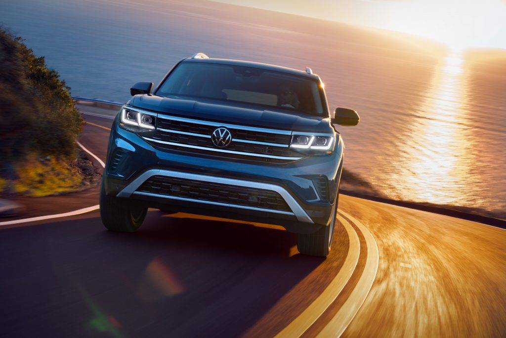 2021 Volkswagen Atlas driving on curvy roads