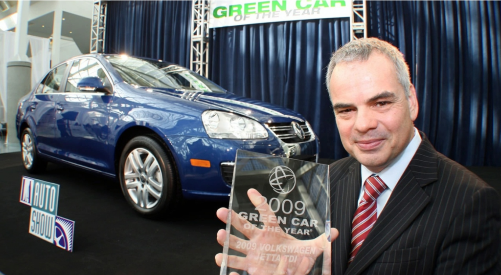 "The Volkswagen Jetta TDI wins the ""Green Car of the Year"" award"